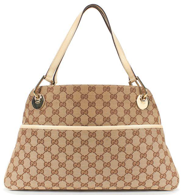 GUCCI Brown GG Canvas Tote Shoulder Bag