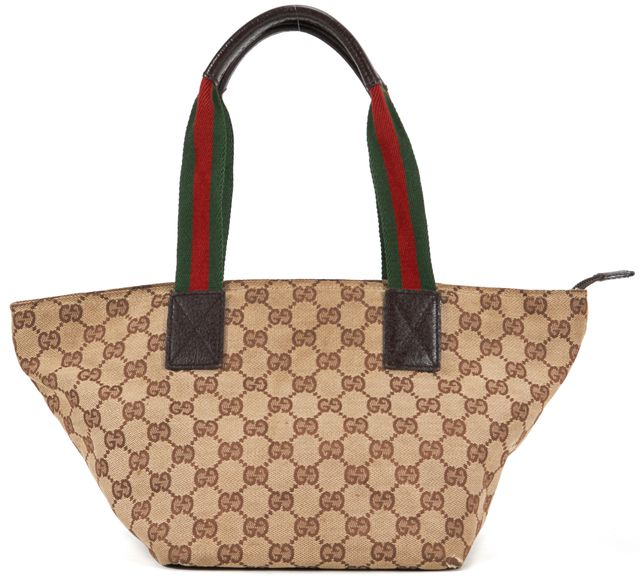 GUCCI Beige Brown Monogram Canvas Tote Shoulder Bag Handbag