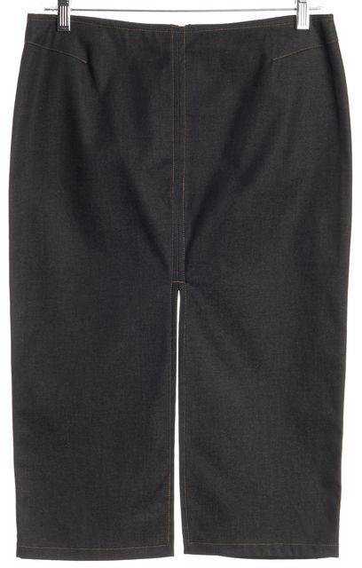 GUCCI Blue Stretch Denim Front & Back Center Slit Pencil Skirt