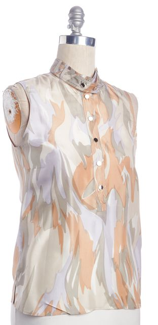 GUCCI Beige Green Tan Abstract Print Silk Snap Button Collar Blouse Top