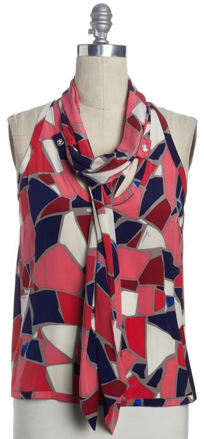 GUCCI Pink Blue Gray Abstract Tie Neck Silk Sleeveless Blouse Top