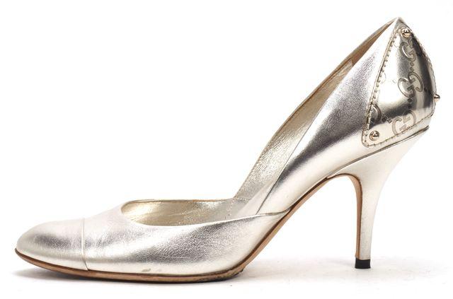 GUCCI Silver Leather Pump Guccisima Panel Heels
