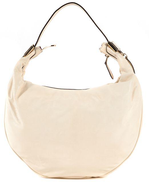 GUCCI White Leather Silver Tone Hardware Hobo Bag