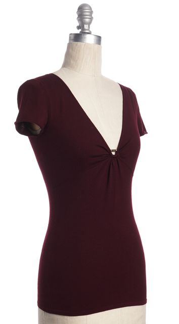 GUCCI Burgundy Red Wool V-Neck Gathered Cap-sleeve Blouse Knit Top