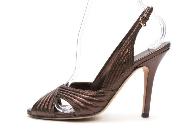 GUCCI Metallic Brown Bronze Leather Slingback Heels