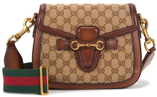 GUCCI Lady Web Brown GG Monogram Canvas Horsebit Crossbody Bag