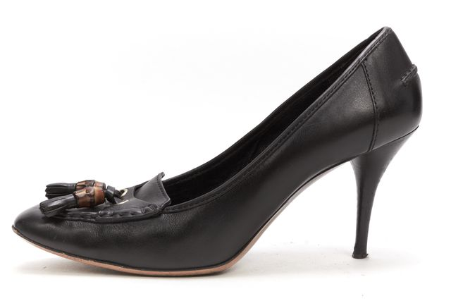 GUCCI Black Leather Casual Tassel Loafer Square Toe Pump Heels