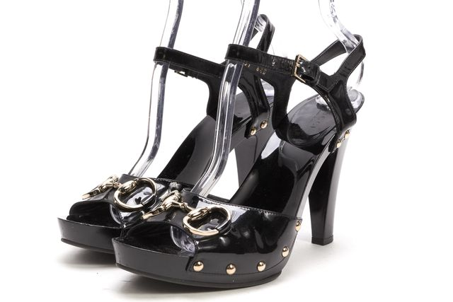 GUCCI Black Patent Leather Gold Buckle Stud Horsebit Ankle Strap Heels