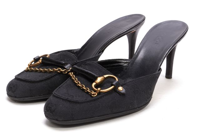 GUCCI Black Canvas GG Horsebit Mule Heels