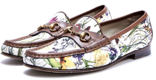 GUCCI White Floral Canvas Brown Leather Trim Horsebit Loafers