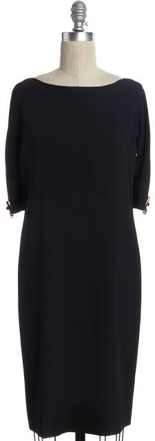GUCCI Black Embellished Short Sleeve Shift Dress