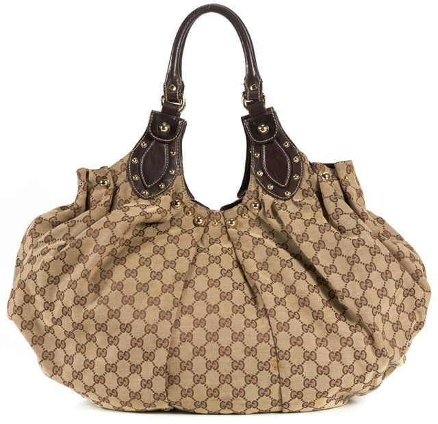 GUCCI Brown Beige GG Canvas Pelham Shoulder Bag