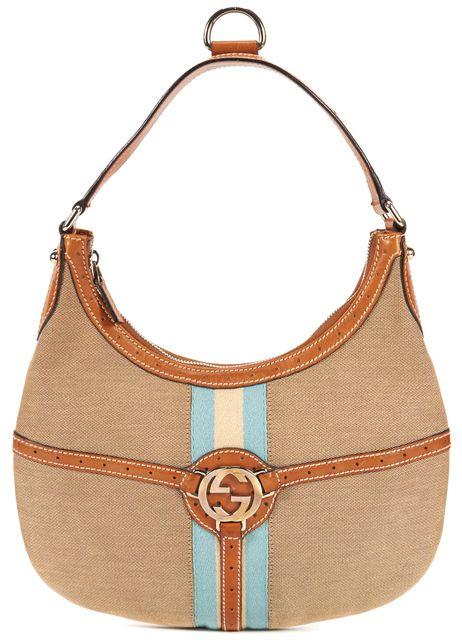 GUCCI Beige Canvas Leather Trim Hobo Shoulder Bag