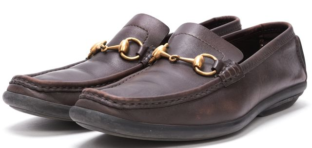 GUCCI Brown Leather Casual Square Toe Horsebit Classic Loafers