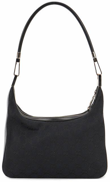 GUCCI Black Navy GG Web Monogram Canvas Leather Hobo Shoulder Bag