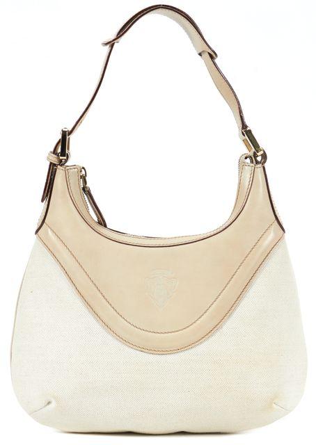 GUCCI Ivory Canvas Leather Crest Hobo Shoulder Bag