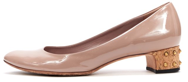 GUCCI Blush Pink Pateant Leather Studded Jacquelyne Low Pump Heels