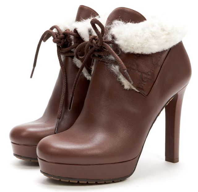 GUCCI Brown Leather Faux Fur Lined Platform Heeled Ankle Boots