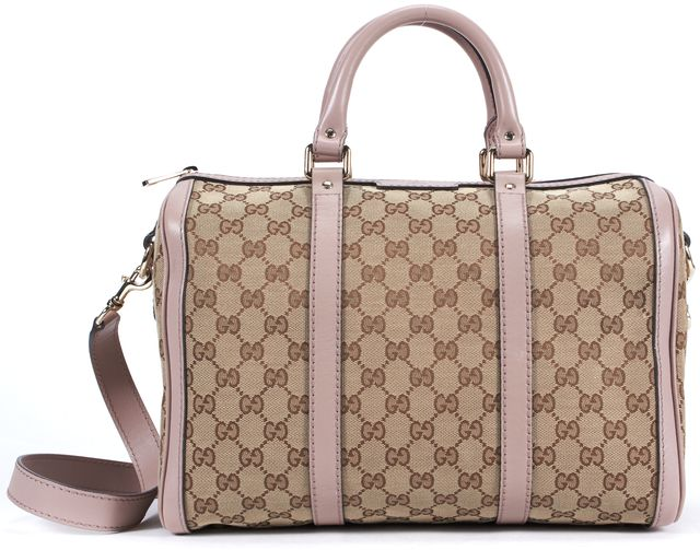 GUCCI Brown Pink GG Monogram Canvas Leather Trim Boston Bag