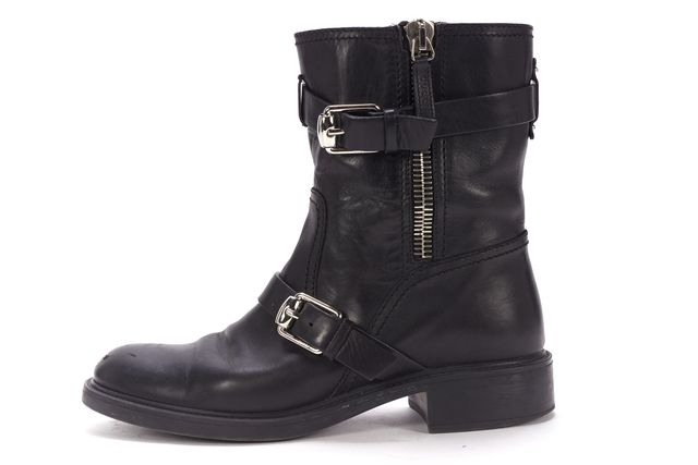 GUCCI Black Leather Buckle Moto Ankle Boots