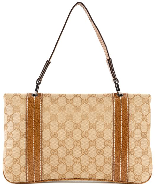 GUCCI Brown GG Canvas Leather Trim Shoulder Bag