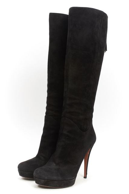 GUCCI Black Suede Casual Knee-high Tassel Zip Back Platform Tall Boots