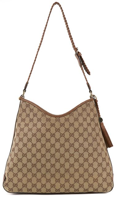 GUCCI Brown GG Monogram Canvas Marrakech Hobo Shoulder Bag