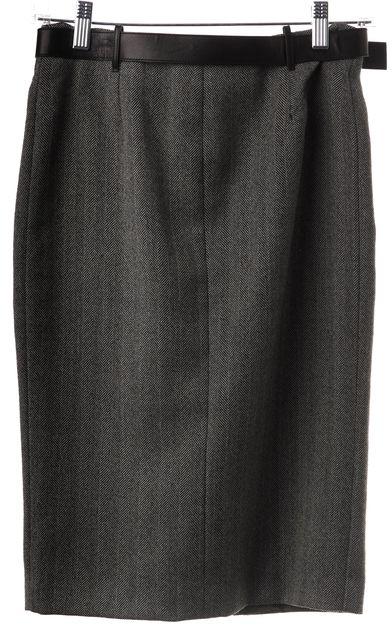 GUCCI Gray Black Chevron Wool Front Zip Pencil Skirt