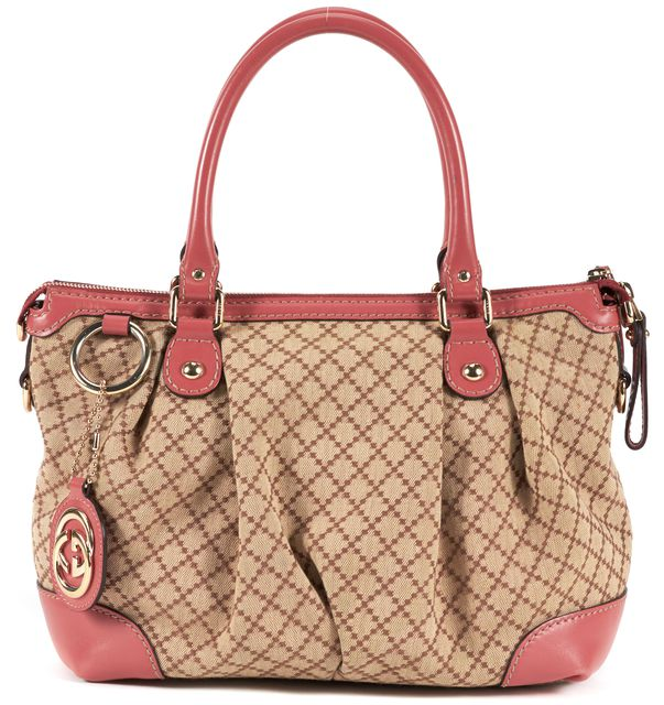 GUCCI Dusty Pink Beige Diamante Canvas Leather Sukey Top Handle Bag