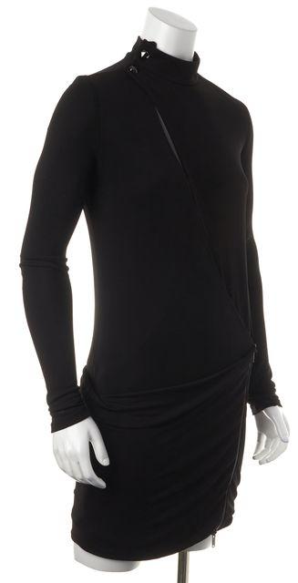 GUCCI Black Casual Asymmetrical Hem Cut-Out Zip Side Wrap Dress Dress