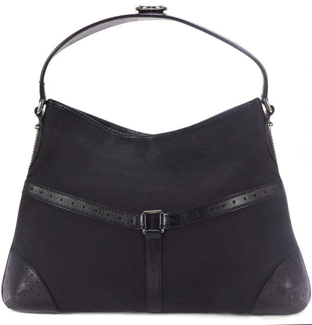 GUCCI Black Canvas Leather Trim Shoulder Bag
