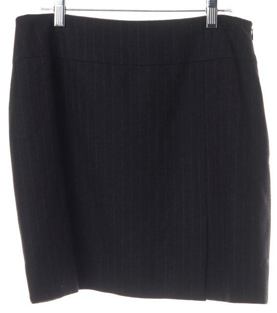 GUCCI Black Striped Wool Straight Skirt