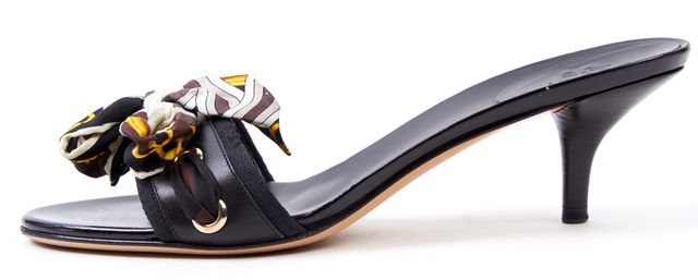 GUCCI Black Brown Scarf Ribbon Embellished Sandals Kitten Heels
