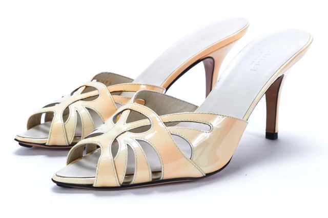 GUCCI Ivory Patent Leather Cutout Peep-Toe Mule Heels