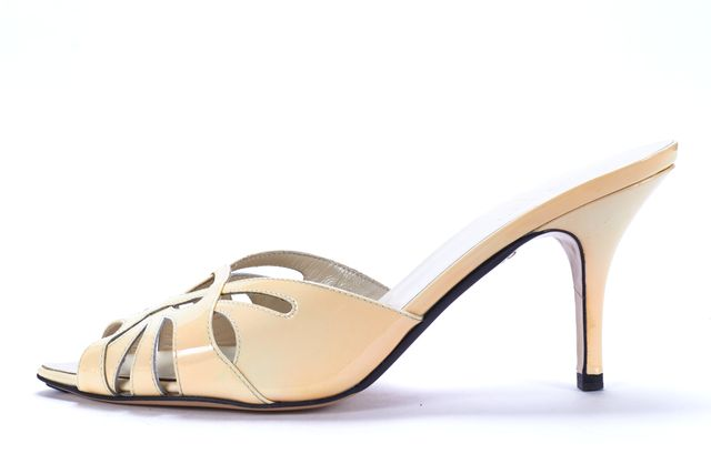 GUCCI Ivory Patent Leather Cutout Peep-Toe Mule Heels