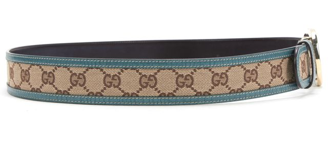 GUCCI Beige Canvas Blue Leather GG Printed With GG Clasp Belt