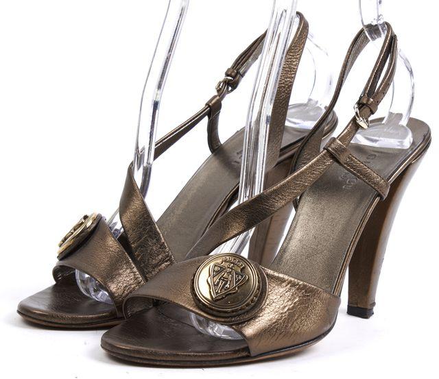 GUCCI Bronze Gucci Crest Sandal Heels