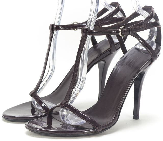 GUCCI Brown Wine Purple Patent Leather Casual T-Strap Sandal Heels