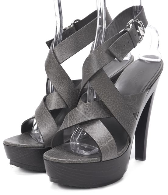 GUCCI Gray Leather Strapoy Platform Sandals
