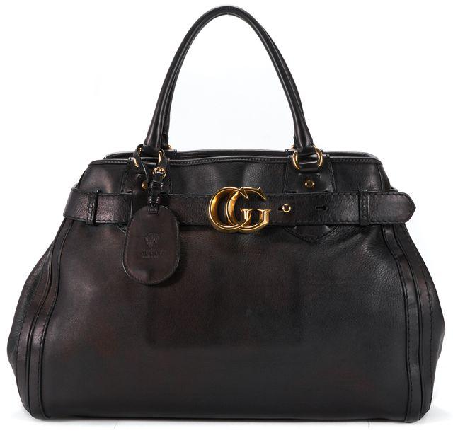 GUCCI Black Leather Oil Metallic Top Handle Bag