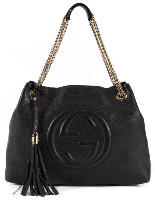 GUCCI Black Pebbled Leather Soho Tote Shoulder Bag