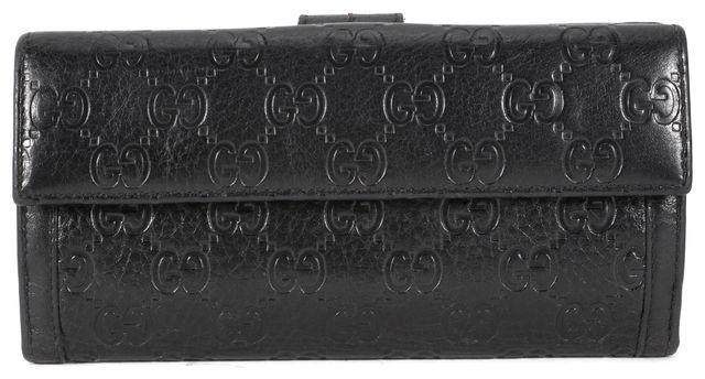 GUCCI Black Leather Guccissima Continental Wallet