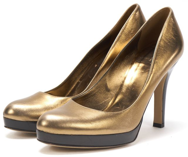 GUCCI Gold Metallic Platform Pumps