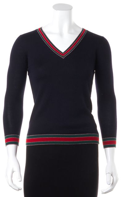 GUCCI Navy Blue Wool V-Neck Sweater