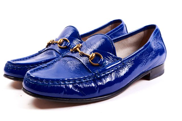 GUCCI Blue Patent Leather Horsebit Loafters
