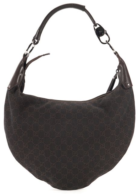 GUCCI Brown GG Monogram Canvas Hobo Shoulder Bag