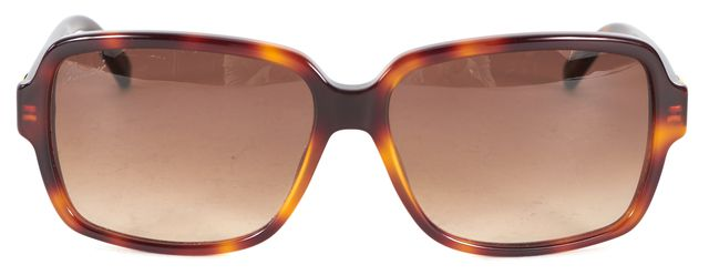 GUCCI Brown Tortoise Shell Acetate Rectangular Sunglasses