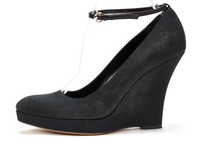 GUCCI Black GG Monogram Canvas Ankle Strap Casual Platform Wedge Heels