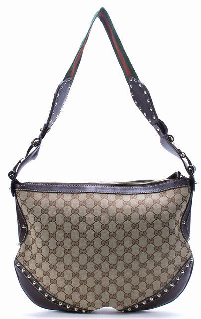 GUCCI Brown GG Canvas Leather Studded Hobo Shoulder Bag