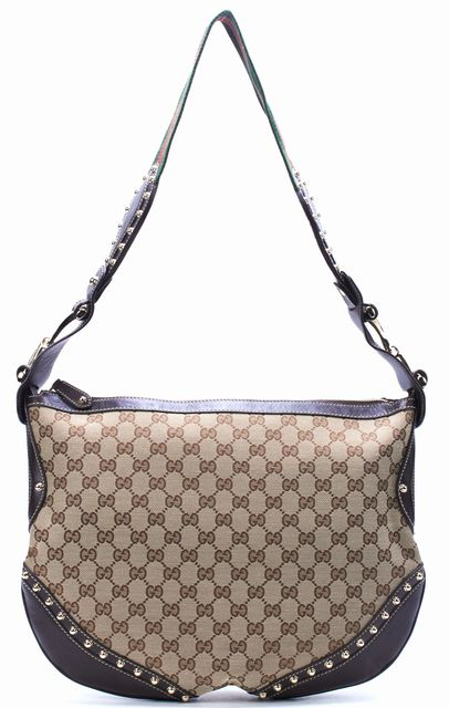 GUCCI Brown GG Canvas Leather Studded Hobo Shoulder Bag